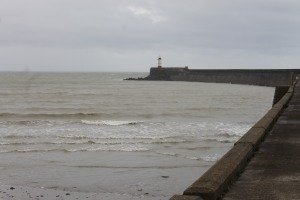 The lighthouse on the end of the breakwater at Newhaven
