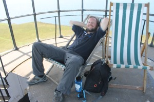 Bob enjoying the Lundy old lighthouse desk chairs
