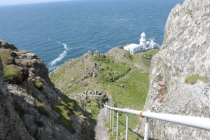 The view from part way down the steps to Lundy north lighthouse