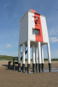 Bob next to the Burnham-on-Sea beacon - much more interesting than the lighthouse!
