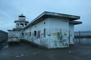 The derelict lighthouse in Leith docks