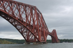 The white-topped lighthouse under the Forth Rail Bridge