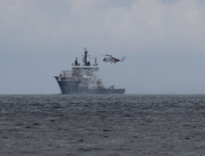 The Pharos and Stornoway Coastguard helicopter