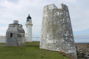 Swilkie Point lighthouse and the foghorn buildings